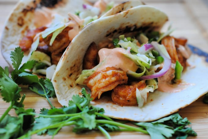 Mexican spicy shrimp tacos